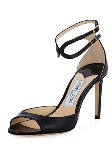 Jimmy Choo Lane Patent Leather Ankle-Wrap Sandal