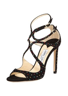 Jimmy Choo Lang 120mm Crystal-Studded Suede Sandal