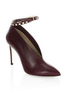 Jimmy Choo Larc 100 Studded Ankle-Strap Leather Booties