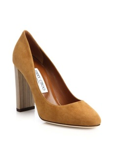 Jimmy Choo Laria 100 Wooden-Heel Suede Pumps