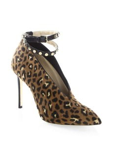 Jimmy Choo Lark 100 Leopard-Print Pony Hair Ankle-Strap Booties