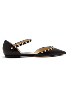 Jimmy Choo Leema faux pearl-embellished leather flats