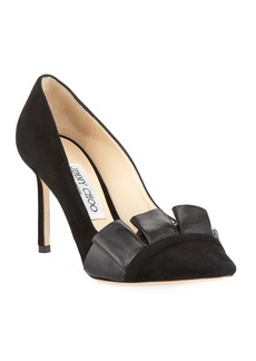Jimmy Choo Leena 85mm Suede  Ruffle Pumps  Black