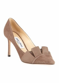 Jimmy Choo Leena 85mm Suede Ruffle Pumps  Gray