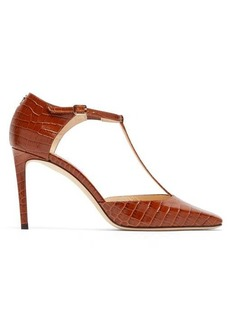 Jimmy Choo Lexica 85 crocodile-embossed leather pumps