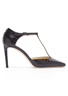 Jimmy Choo Lexica Mary-Jane crocodile-effect leather pumps