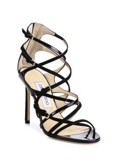 Jimmy Choo Livvy 100 Strappy Suede & Patent Leather Sandals