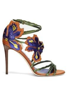 Jimmy Choo Lolita 100mm flower-appliqué leather sandals