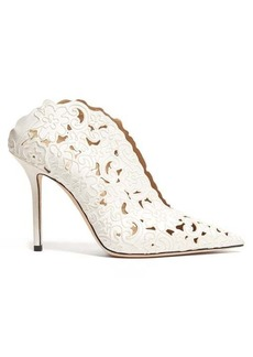 Jimmy Choo Loris 100 floral-embroidered satin mules