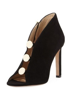 Jimmy Choo Lorna Studded Suede Open-Toe Bootie