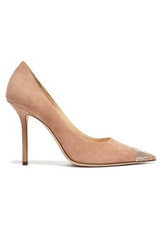 Jimmy Choo Love 100 suede and crystal pumps