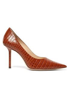 Jimmy Choo Love 85 crocodile-embossed leather pumps