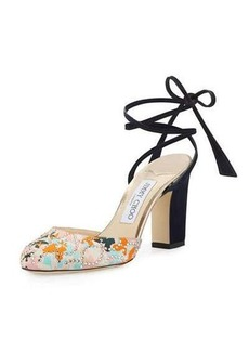 Jimmy Choo Lucia Floral Satin 85mm Ankle-Wrap Sandal