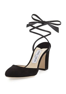 Jimmy Choo Lucia Suede 85mm Ankle-Wrap Sandal