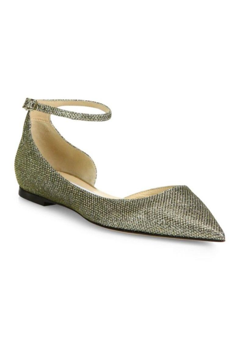 a42c49b91856 Jimmy Choo Jimmy Choo Lucy Lame Glitter Ankle-Strap Flats