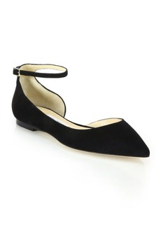 Jimmy Choo Lucy Suede Ankle-Strap Flats