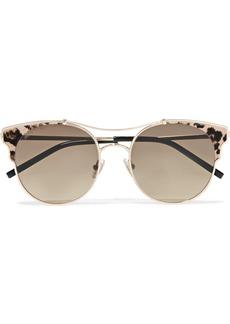 Jimmy Choo Lue cat-eye calf hair-trimmed silver-tone sunglasses