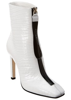 Jimmy Choo Macel 100 Crocodile-Embossed Leather Bootie