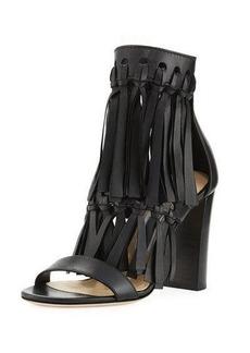 Jimmy Choo Malia Leather Fringe Block-Heel Sandal