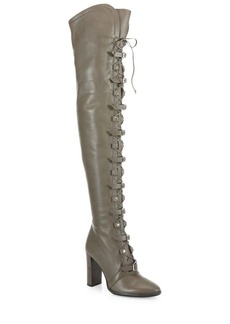 Jimmy Choo Maloy Leather Over-The-Knee Lace-Up Boots