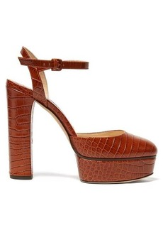 Jimmy Choo Maple 125 crocodile-effect leather platform pumps