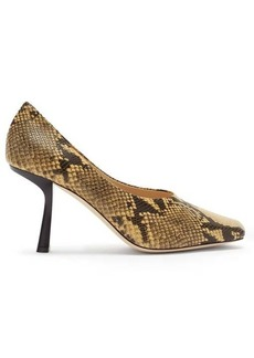 Jimmy Choo Marcela 85 square-toe python-effect leather pumps