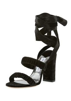 Jimmy Choo Marcella Velvet Ankle-Wrap Sandal