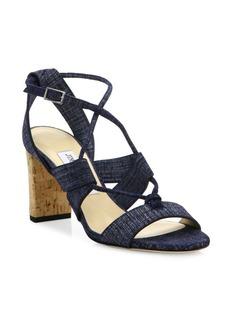 Jimmy Choo Margo Cork-Heel Denim Lace-Up Sandals