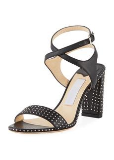 Jimmy Choo Marine Studded Leather Block-Heel Ankle-Strap Sandal