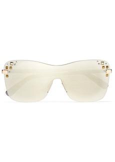 Jimmy Choo Mask square-frame Swarovski crystal-embellished mirrored sunglasses