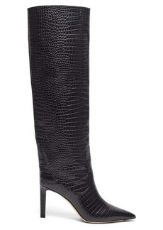 Jimmy Choo Mavis 85 crocodile-effect leather boots