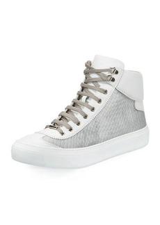 Jimmy Choo Men's Velvet & Leather High-Top Sneakers