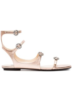 Jimmy Choo Metallic Rose Gold Naia Leather Sandals