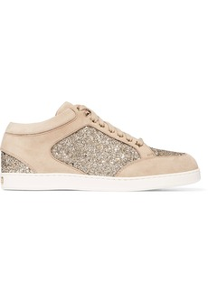 Jimmy Choo Miami glitter-paneled suede sneakers