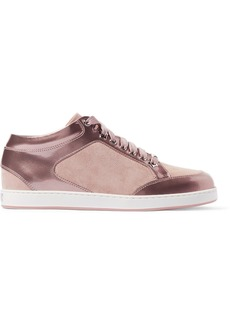 Jimmy Choo Miami suede-paneled metallic patent-leather sneakers