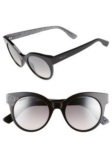 Jimmy Choo 'Mirta' 49mm Glitter Detail Cat Eye Sunglasses