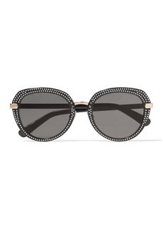 Jimmy Choo Mori embellished round-frame acetate sunglasses