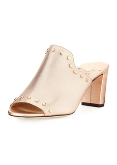 Jimmy Choo Myla Studded Metallic Leather Slide Sandal