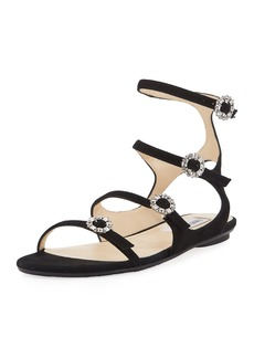 Jimmy Choo Naia Suede Flat Sandal with Crystal Buckles