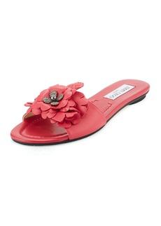 Jimmy Choo Neave Floral Leather Slide Sandal