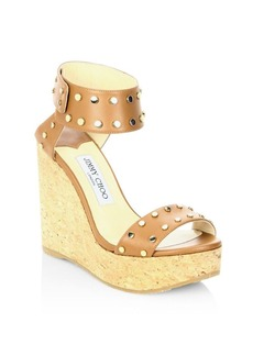 Jimmy Choo Nellie 100 WXW Studded Leather Cork Wedge Sandals