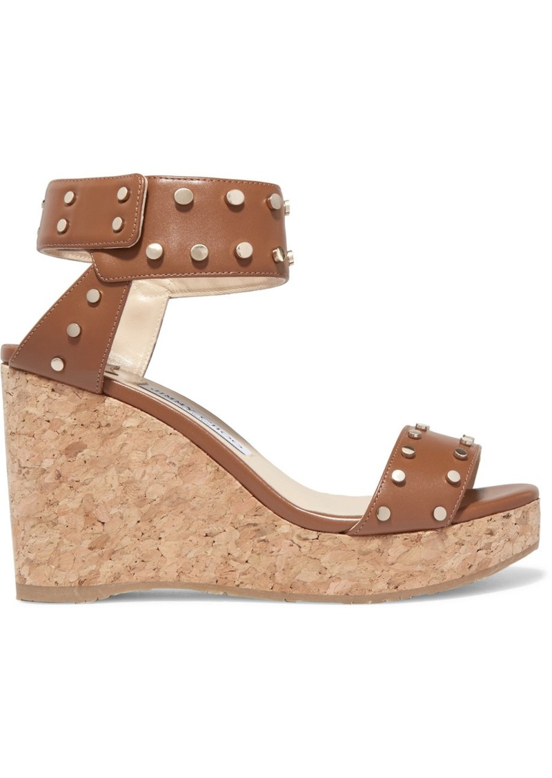 Jimmy Choo Nelly 100 studded leather wedge sandals