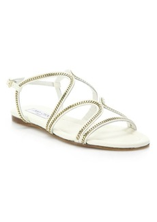 Jimmy Choo Nickel Chain-Trim Leather Sandals