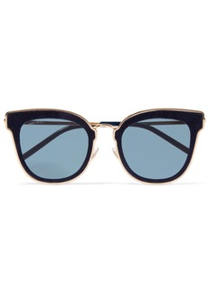 Nile cat-eye glittered suede and gold-tone sunglasses