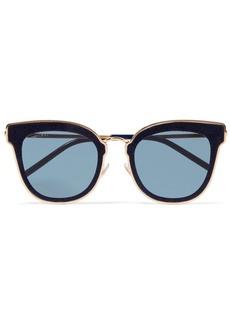 Jimmy Choo Nile cat-eye glittered suede and gold-tone sunglasses