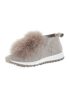 Jimmy Choo Norway Slip-On Sneakers with Fur Pompom