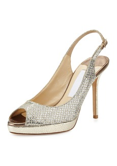 Jimmy Choo Nova Glitter Platform Slingback Sandal