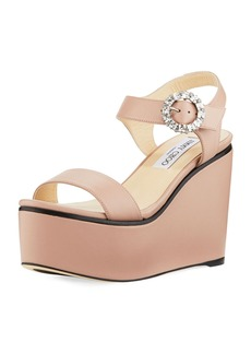 Jimmy Choo Nylah Leather Wedge Platform Sandal