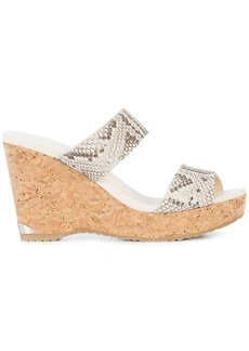 Jimmy Choo Parker 100 wedge sandals - Nude & Neutrals