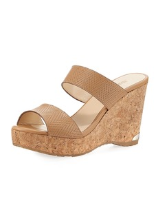 Jimmy Choo Parker Textured Leather Two-Band Sandal